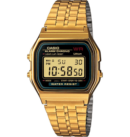 Casio - Classic A159WGEA-1VT - Black Face/Gold Band