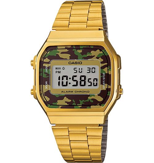 Casio - Classic A168WEGC-3VT - Camo Face/Gold Band