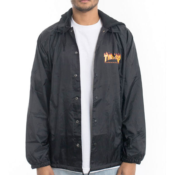 Thrasher - Flame Logo Coaches Jacket - Black