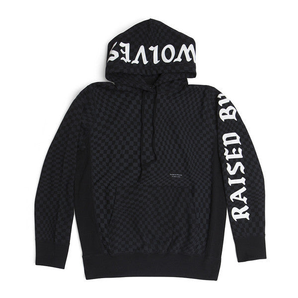 Raised by Wolves - Warped Checkerboard Hoodie - Black