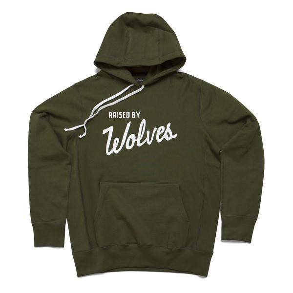 Raised by Wolves - Varsity Hooded Sweatshirt - Olive Drab