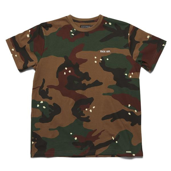 Raised by Wolves - Fuck Off T-shirt - Camo/Olive Brown