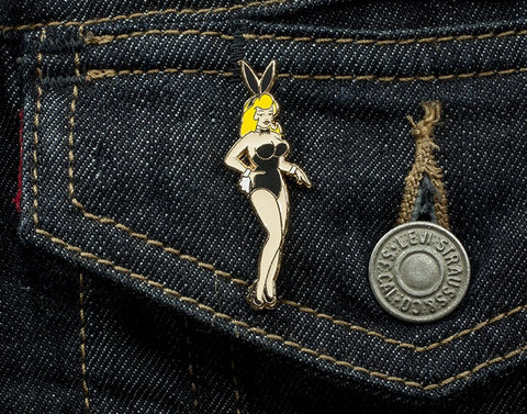 Tom Grunwald - Blonde Bunny Lapel Pin - White