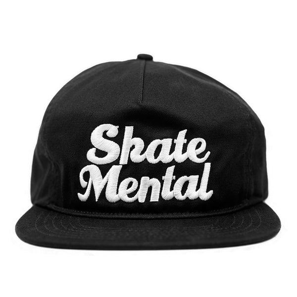 Skate Mental - Script Logo Unstructured Snapback - Black Canvas