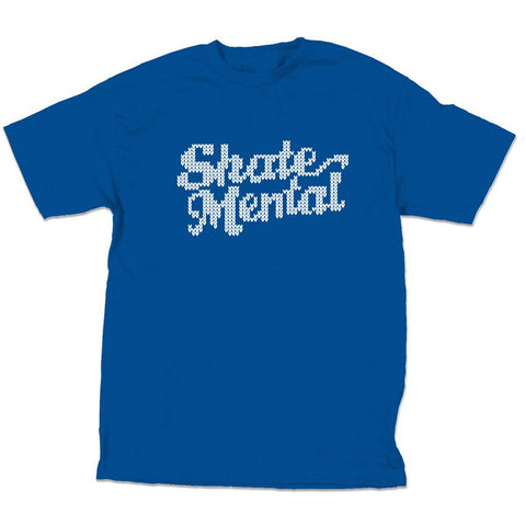 Skate Mental - Knit Logo Tee - Royal Blue