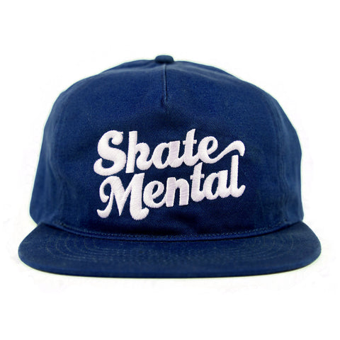Skate Mental - Script Logo Unstructured Snapback - Blue Canvas