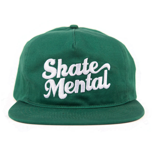 Skate Mental - Script Logo Unstructured Snapback - Green Canvas
