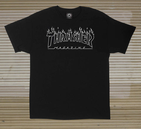 Thrasher - Flame Outline Tee - Black