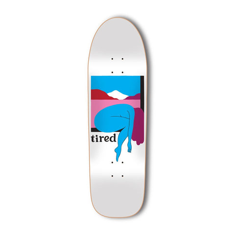 Tired - Woman and Mountain Deck - White