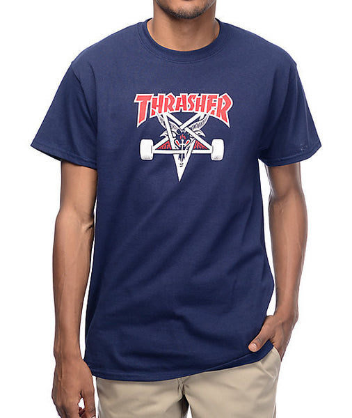 Thrasher - Two Tone SK8GOAT Tee - Navy Blue