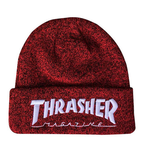 Thrasher - Embroidered Logo Beanie - Heather Red/White