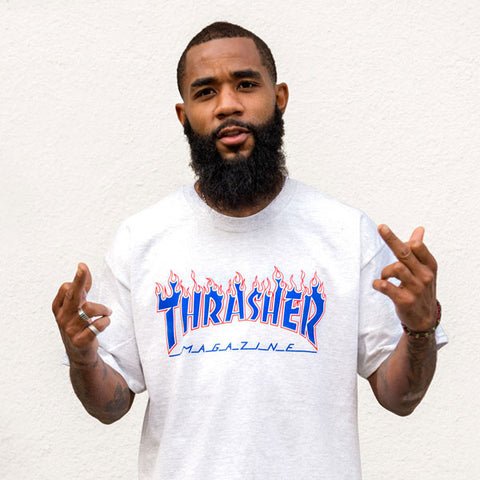 Thrasher - Patriot Flame Logo Tee - Heather Grey