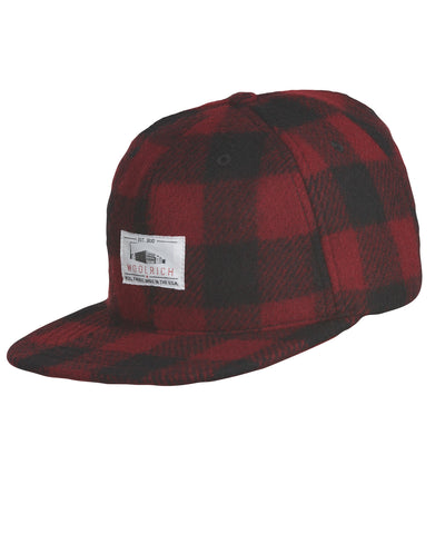 Woolrich White Label - Wool Baseball Cap Buffalo Check Plaid - Red/Black