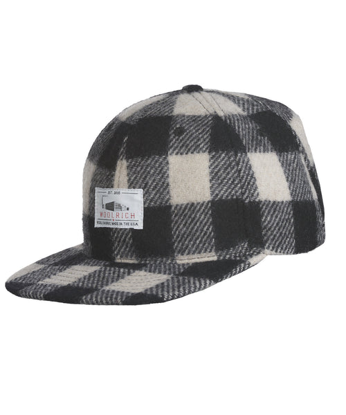 Woolrich White Label - Wool Baseball Cap Buffalo Check Plaid - White/Black