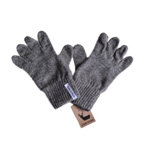 Raised by Wolves - Jarry Gloves - Heather Grey Wool/Brown Deerskin