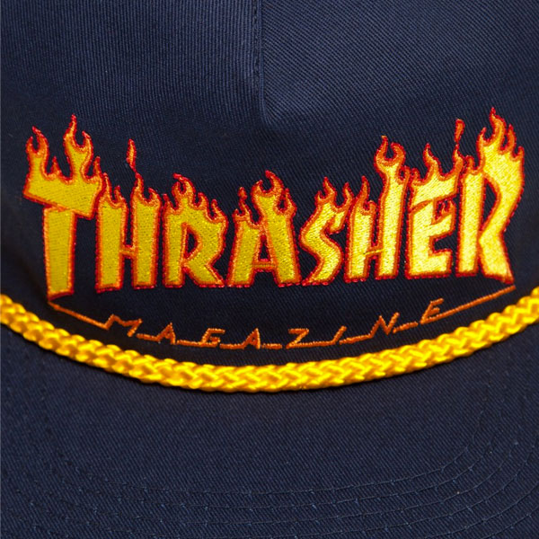 Thrasher - Flame Rope Snapback Hat - Navy