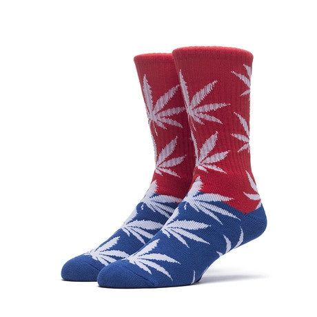 HUF - Color Block Plantlife Crew Socks - Red/Blue