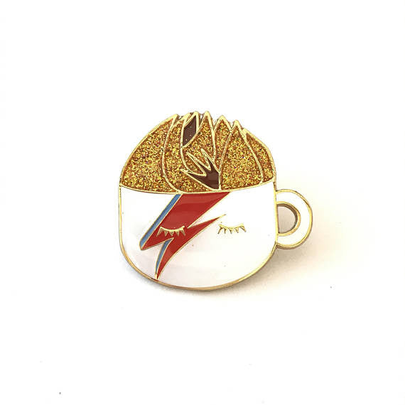 Mo.Pins - Davie Bowie A Latte Insane Pin - Brown