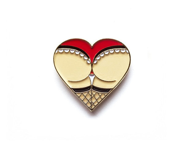 Tom Grunwald - Ass Heart Lapel Pin - Red