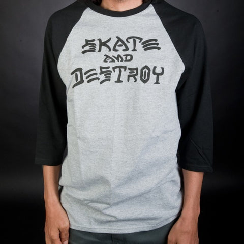 Thrasher - Skate and Destroy Raglan - Grey/Black