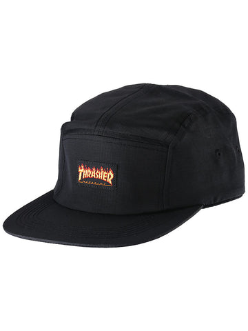 Thrasher - Flame Logo 5 Panel Cap - Black