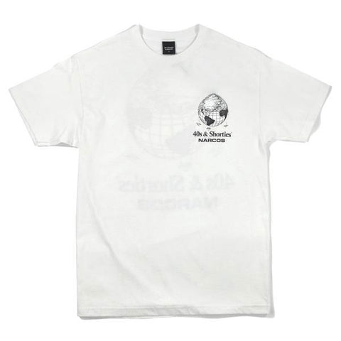 40s & Shorties - Narcos Cover the Earth Tee - White