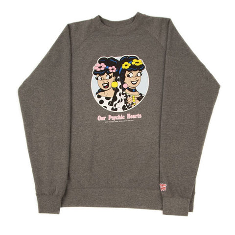 Psychic Hearts - Strawberry & Veronica Crewneck - Heather Grey