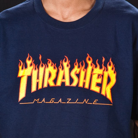 Thrasher - Flame Logo T-Shirt - Navy