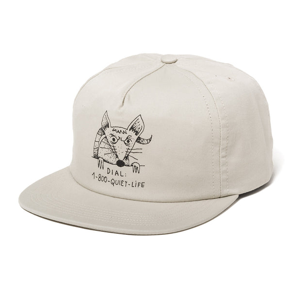 The Quiet Life - Dial A Rat Relaxed Fit Hat  - Stone