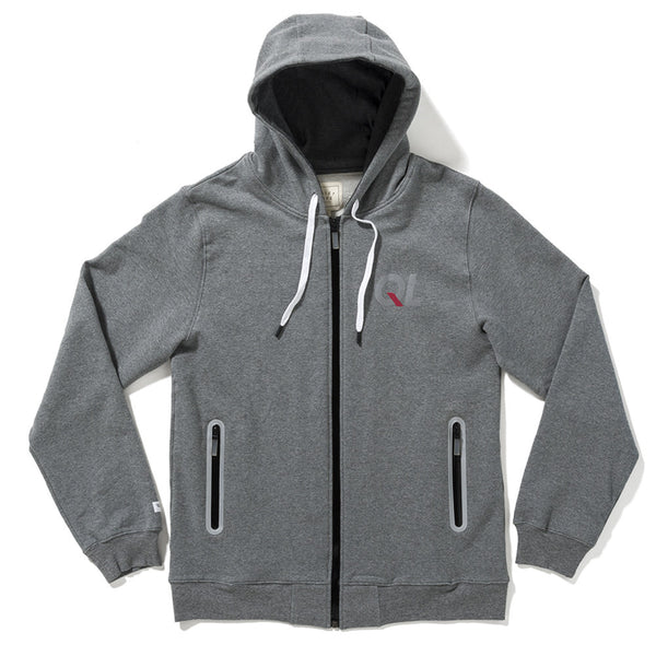 The Quiet Life - Reflective Zip Up Hoodie - Heather Grey