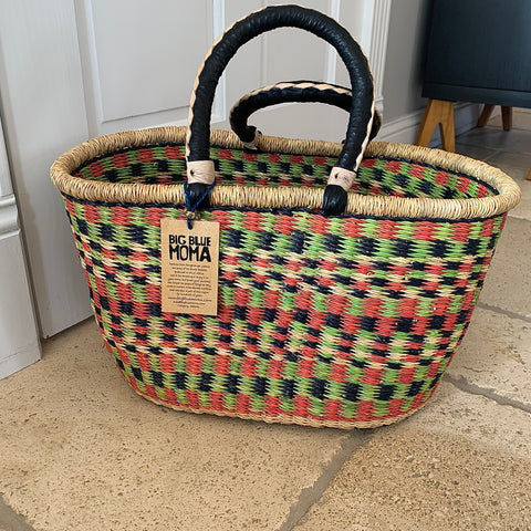 Oval Basket w/ Handle - Red, Green & Black Check