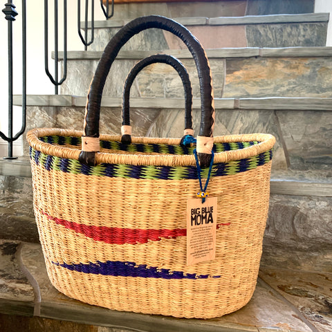 Basket w/ Handle - Natural with Earthy Triangles