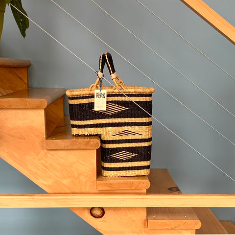 Staircase Basket - Navy with Stripes & Diamonds