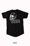SKULL mid-long tee by David Brown - BLACK