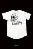 SKULL mid-long tee by David Brown - WHITE