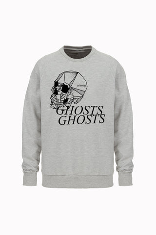SKULL crewneck sweatshirt by David Brown - ATHLETIC GRAY