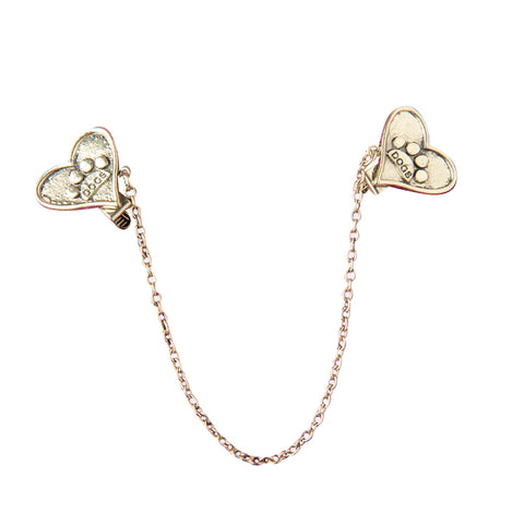 Evelots Vintage Gold Toned Heart Shaped Paw Sweater Clip, Collar Clip