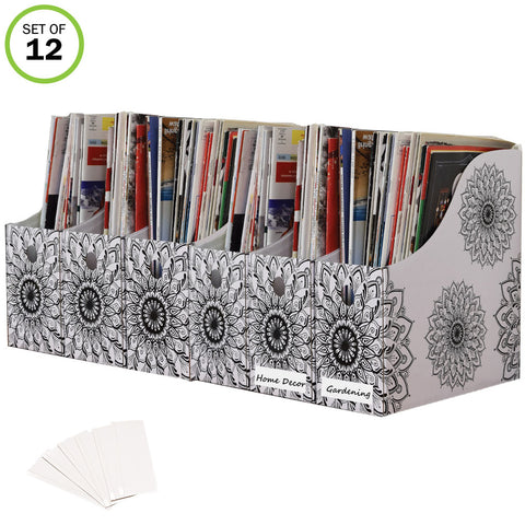Evelots Magazine File Holder-Organizer-4 Inch Wide-Mandala-With Labels-Set/12