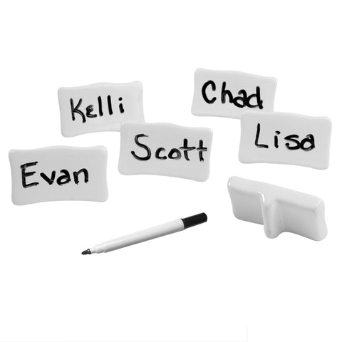 Evelots® 6 Reusable Porcelain Place/Name Cards With Marker, Easel Backs, Ivory