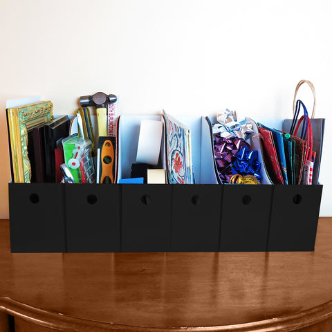 "Evelots Magazine File Holder-Organizer-Full 4"" W-Black-With Labels"