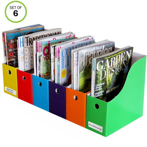 "Evelots Magazine File Holder-Organizer-Full 4"" W-6 Colors-W/Labels"