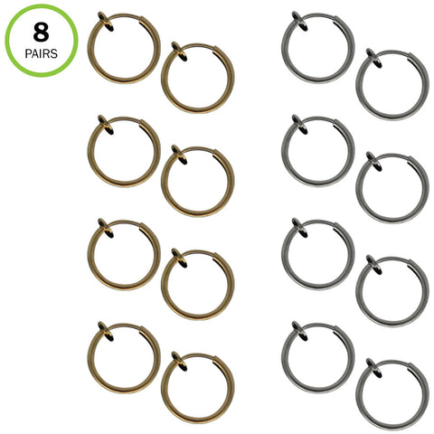 Evelots Clip On Hoop Earrings-Gold/Silver-Spring Loaded-Light-Body-Set/8 Pairs