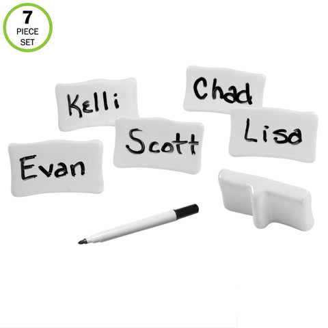 Evelots Place/Name Cards-Porcelain-Reusable-With Marker-Easel Back-7 Piece Set