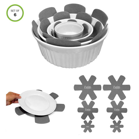 Evelots Pot/Pan Scratch Protect-Dish/Bowl-Soft Felt-Up to 15 Inch-3 Sizes-Set/6