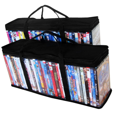 Evelots Portable DVD Blu-Ray-Video Games- Storage Bags-See Thru-Black Top-Set/2