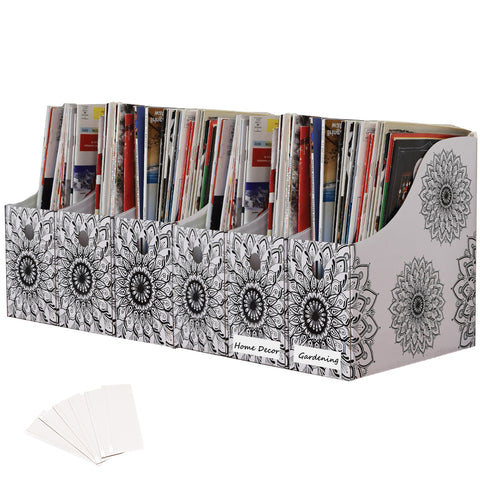 Evelots Magazine File Holder/Organizer-4 Inch Wide-Mandala-With Labels