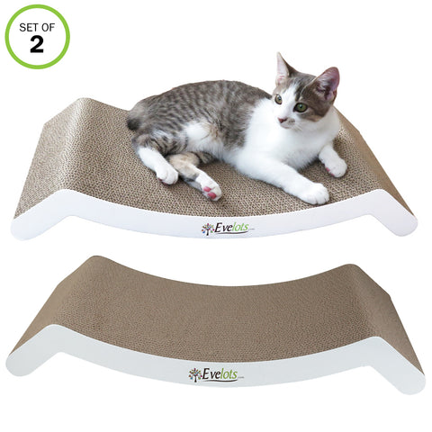Evelots Cat Bed Scratcher-Sofa-Large-Reversible-Groom Claws-Cardboard- Set/2
