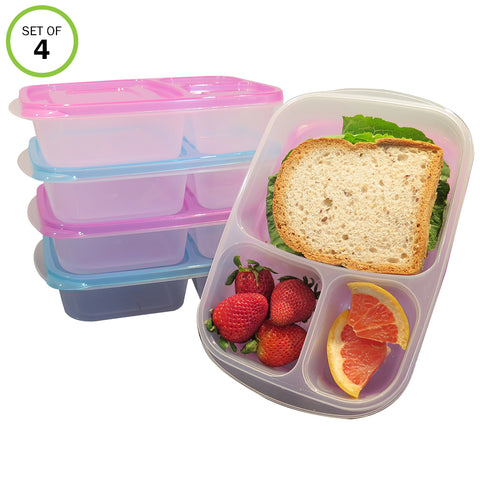 Evelots Bento Box Meal Prep Containers 3 compartments Reusable Food Storage
