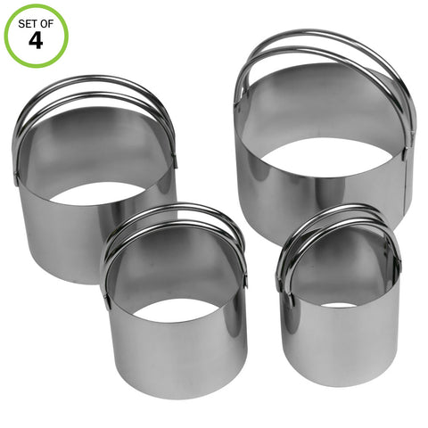 Evelots Cookie Cutter-Biscuit-Stainless Steel-Easy to Use Handles-4 Sizes-Set/4