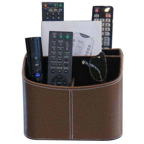 Evelots Spinning TV Remote Organizer-Cell Phone/Tablet-5 Section-Faux Leather